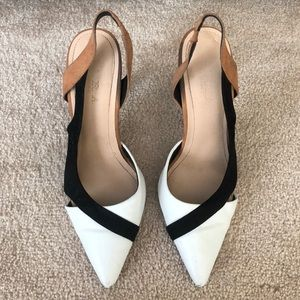 Zara Tarfaluc Pointed Toe Slingback Modern Heel